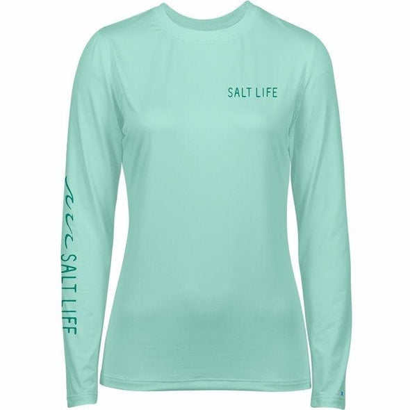 Apparel Salt Life Women's Tropical Escape Badge Long Sleeve Performance Tee Shirt - Shop The DocksSalt Life Apparel