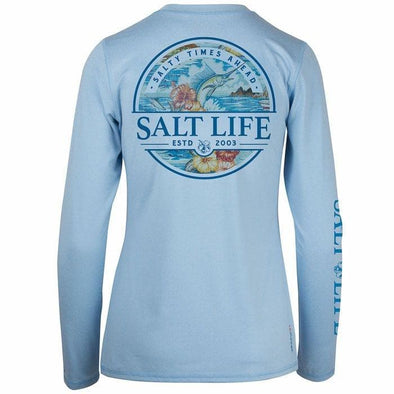 Apparel Salt Life Women's Boat Life Badge Long Sleeve Performance Tee Shirt - Shop The DocksSalt Life Apparel