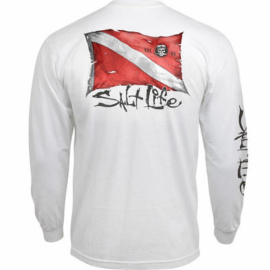 Salt Life Men's Weathered Dive Flag White Long Sleeve Pocket Tee.