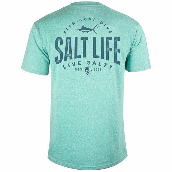 Apparel Salt Life Men's Marlin Hook Badge Tri Blend Tee Shirt - Shop The DocksSalt Life Apparel