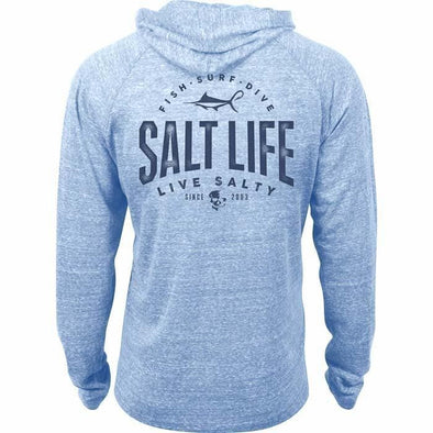 Apparel Salt Life Men's Marlin Hook Badge Lightweight Tri Blend Hoodie - Shop The DocksSalt Life Apparel