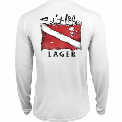 Salt Life Men's Lager SLX Long Sleeve Performance Pocket Tee.