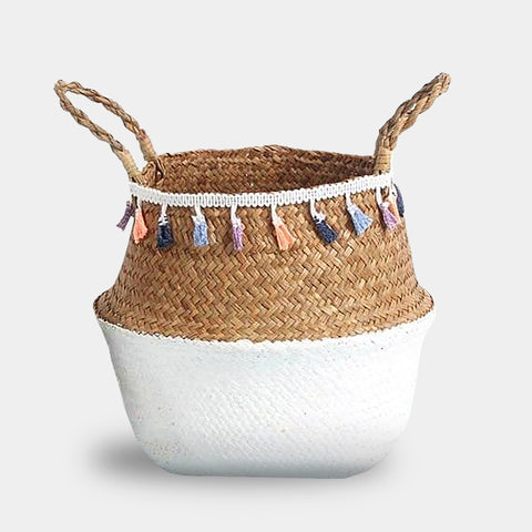 Natural white seagrass storage baskets for plants or accessories