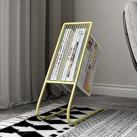 Contemporary steel curve magazine holder rack - gold, black, white