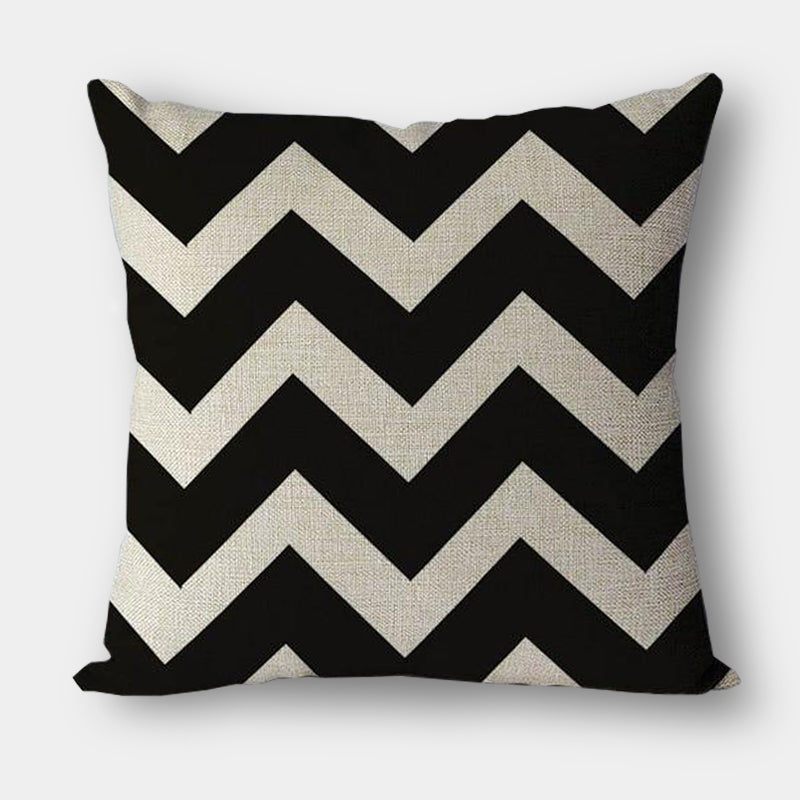 Modern black and white graphic geometric cotton linen cushions