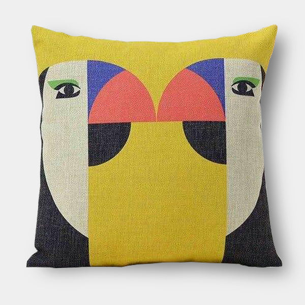 Graphic linen colour animal cushions - Monkey, Puffin, Flamingo