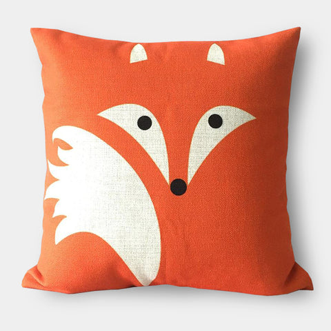 Modern graphic linen orange and blue fox cushions