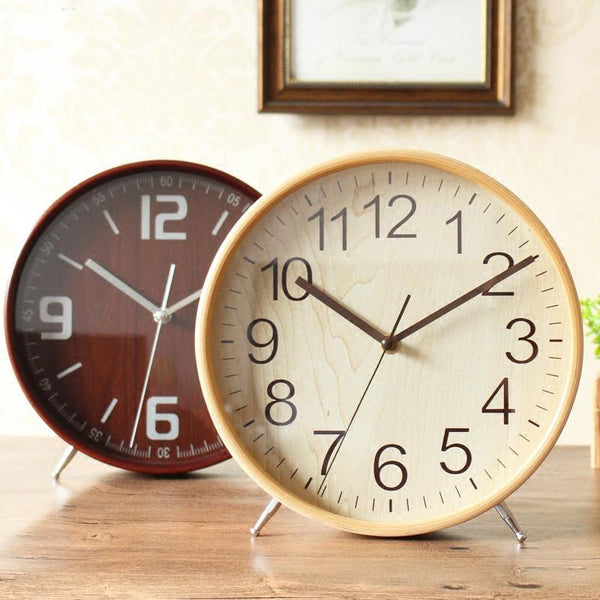 Mid century modern stylish wooden table clocks - Blue, White, Natural