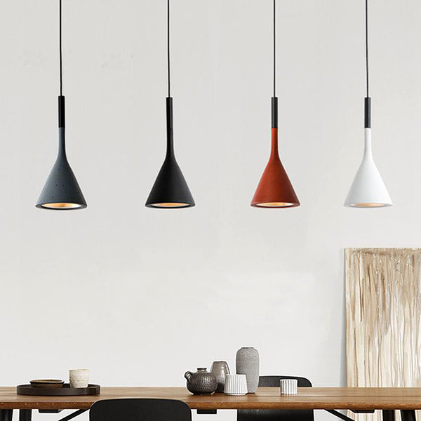 Modern coloured ceiling Scandi cone pendant lights