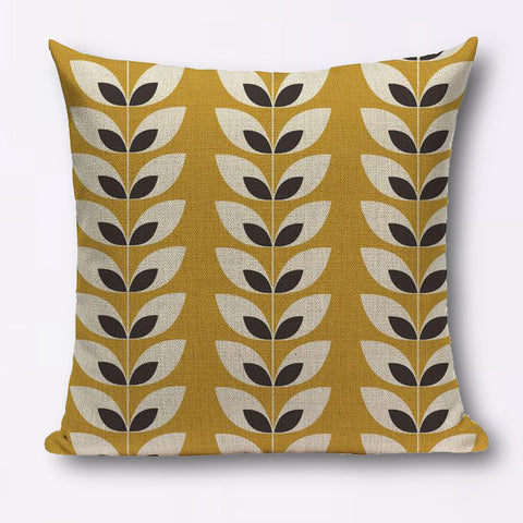 Modern graphic cotton linen small leaf cushions