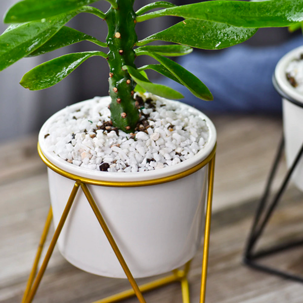 Metal planter with white ceramic plant pot