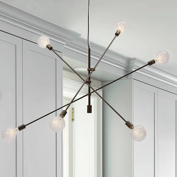 Modern retro sputnik gold hanging wire chandelier ceiling light