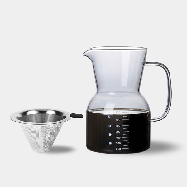 Modern glass & stainless steel coffee cafetiere jug with filter - 800ml