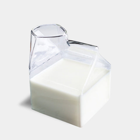Modern glass water juice milk carton jug