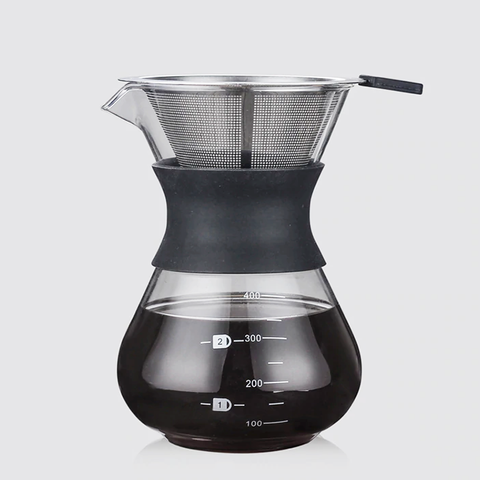 Contemporary glass coffee pot with stainless steel filter