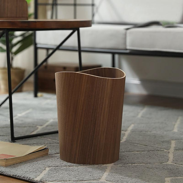 Wooden mid-century style waste paper bin trash can