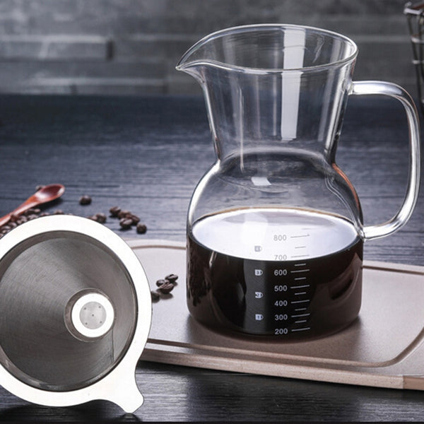 Glass coffee cafetiere jug with filter