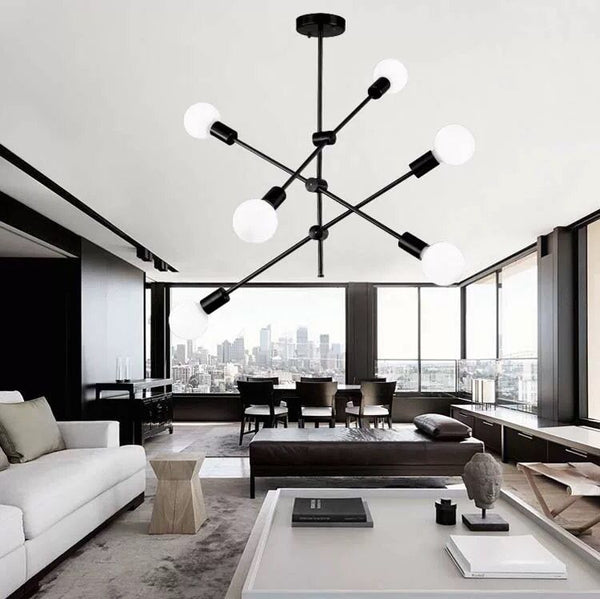 Modern black sputnik light chandelier