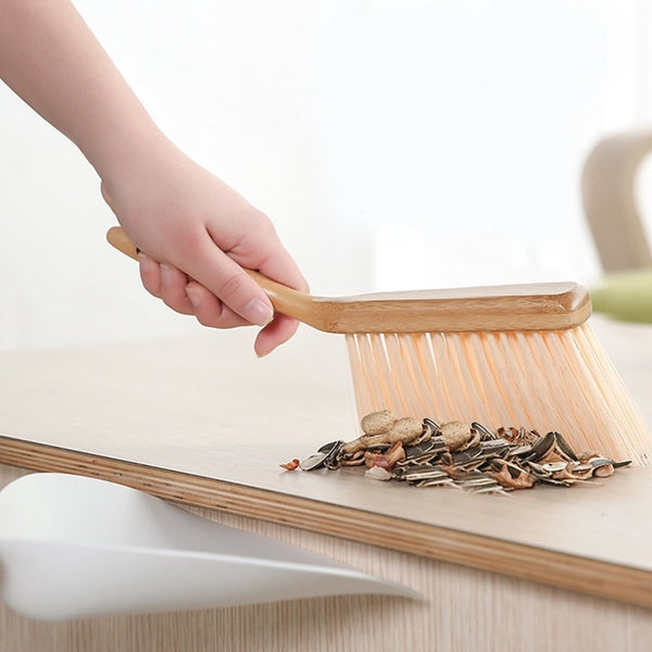 Modern space saving dustpan and brush set