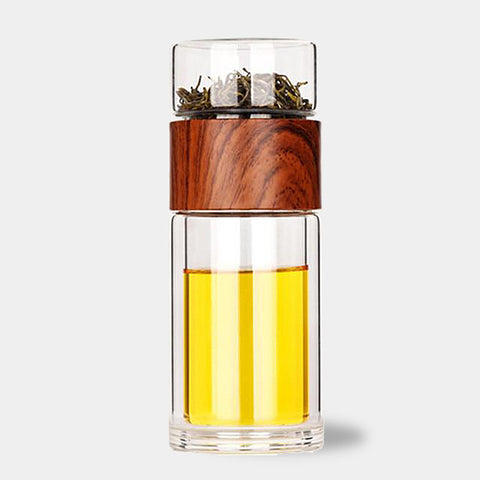 Glass travel tea infuser water bottle