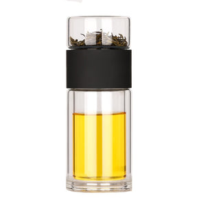 Modern glass portable double wall travel tea infuser water bottle