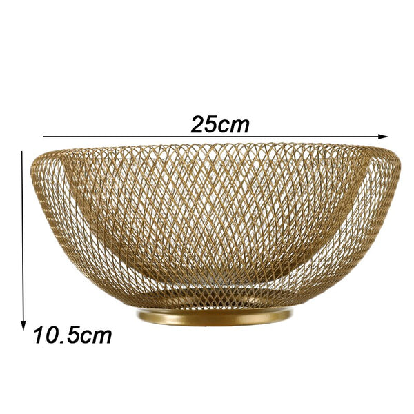 Modern metal mesh fruit bowl - black or gold