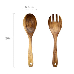 Acacia wood salad server set