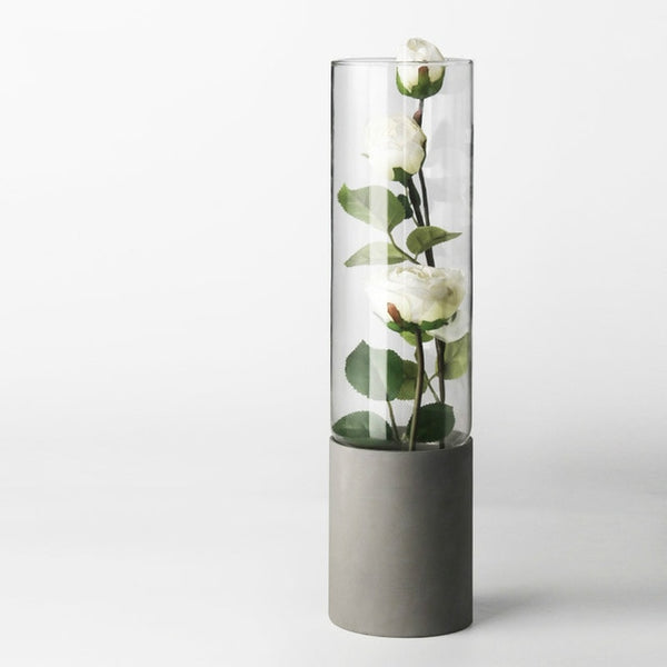 Modern concrete and glass planter vases - Small, Medium, Large
