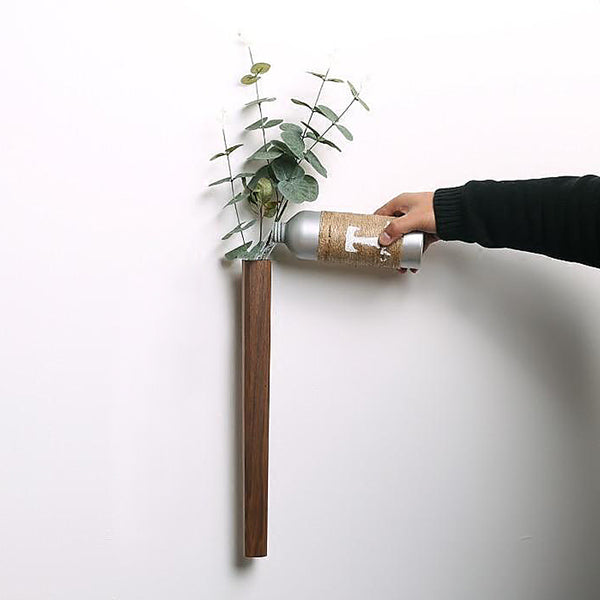 Contemporary wooden wall vases with glass test tube