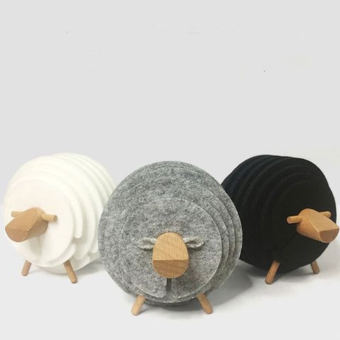 Modern sheep wood felt coaster set - Black, White, Grey