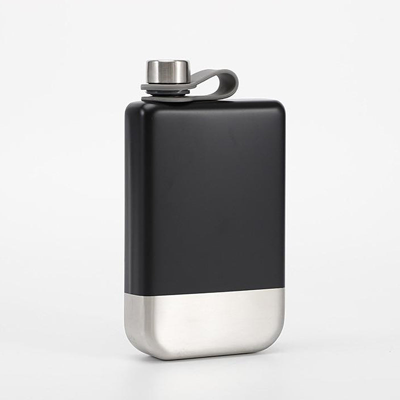 Modern matt black stainless steel hip flask