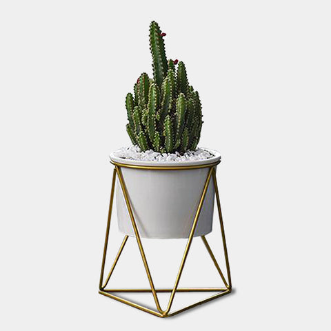 Geometric metal and ceramic planters