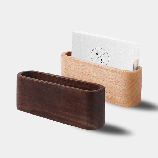 Stylish modern retro wooden business card holder