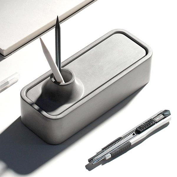 Modern concrete desk pen holder