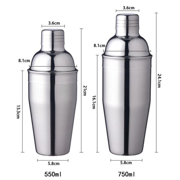 Stainless steel bartender cocktail shaker set and stand