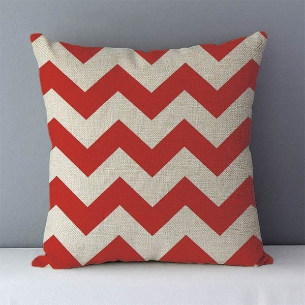 Modern red geometric cushions