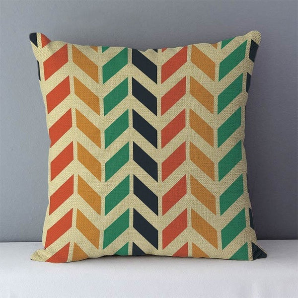 Modern colourful geometric cushions