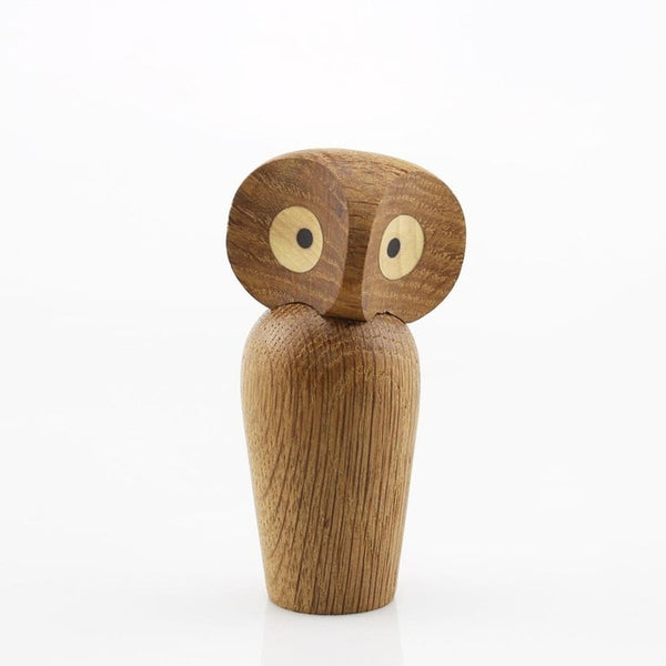 Wooden walnut and white oak owl ornament
