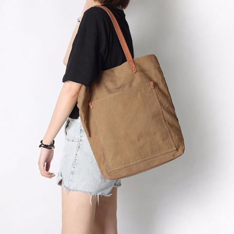 Canvas and leather premium tan tote bag