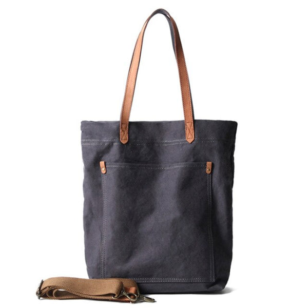 Canvas and leather premium grey tote bag