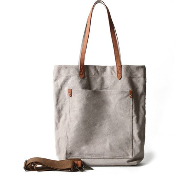 Canvas and leather premium khaki tote bag