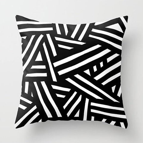 Black and white  modern cotton linen abstract cushions