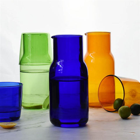 Modern heat-resistant glass carafe and tumbler