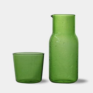Modern heat-resistant water glass carafe & tumbler - Green, Brown, Blue