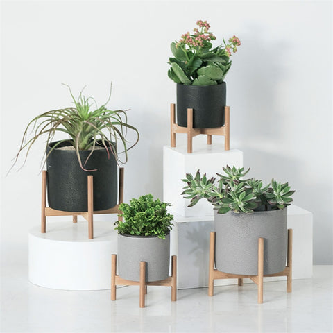 Concrete mid century style planters with wooden stand