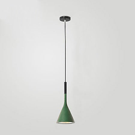 Modern coloured ceiling Scandi cone pendant lights Green