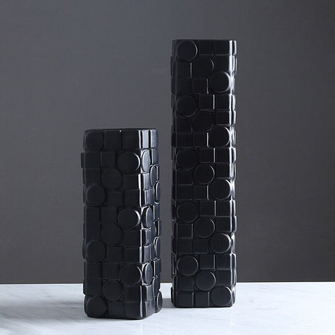 Contemporary retro black and white mosaic vases