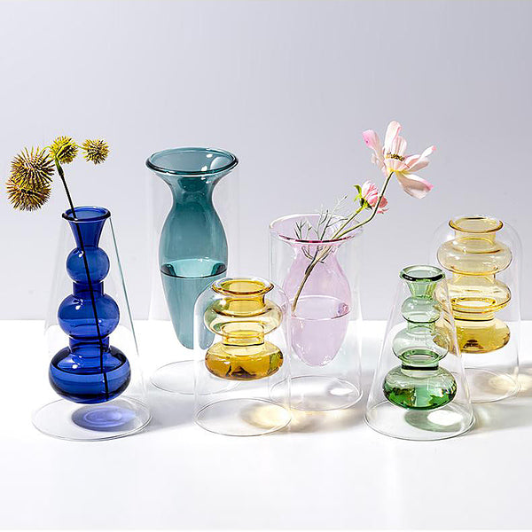 Modern double-wall cylinder glass vases