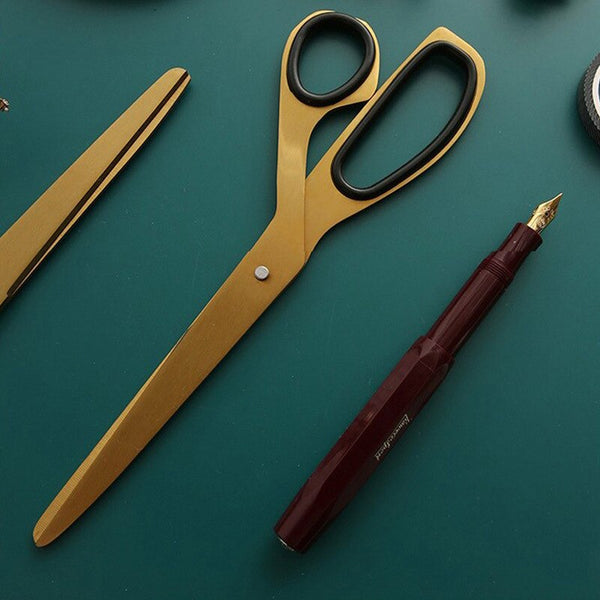 Sleek Modern Brass Coloured Stainless Steel Large Scissors