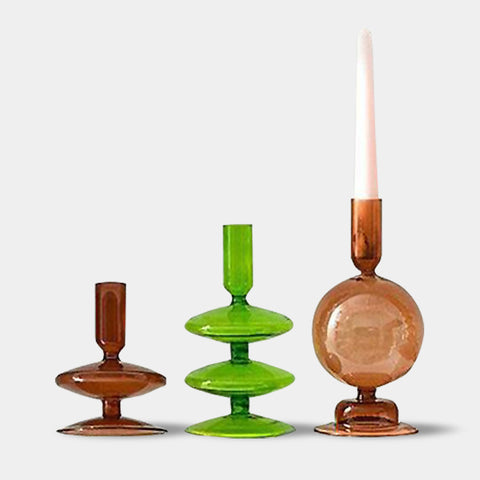 Retro coloured glass candlestick holders - Black, Blue, Green, Orange